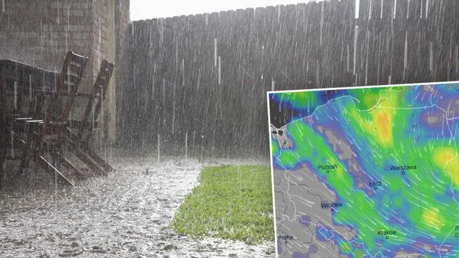 Najbliższe dni w strugach deszczu. <br />Z burzami i porywistym wiatrem