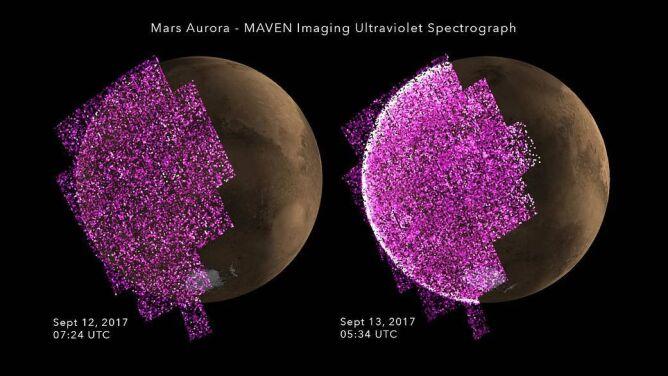 Ultrafioletowy obraz zorzy polarnej na Marsie