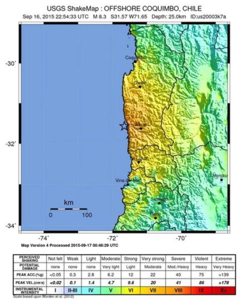 Epicentrum znajdowało się na głębokości 8 km, 228 km od miasta Santiago