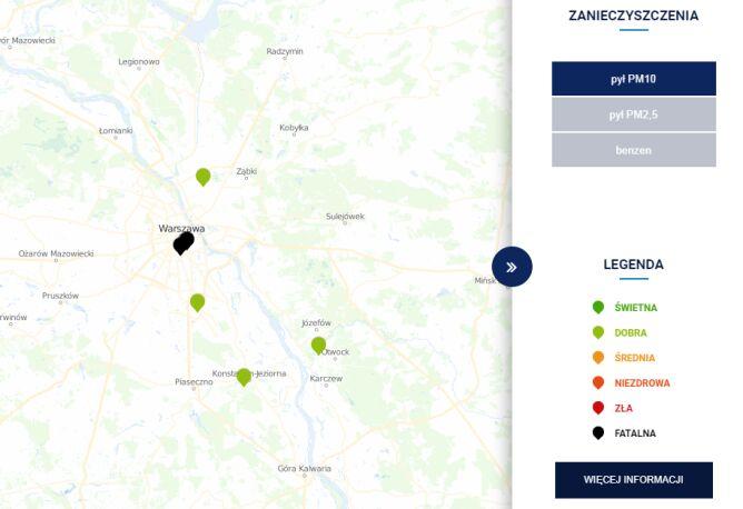 Jakość powietrza w Warszawie o godz. 13.50 (TVN Meteo za GIOŚ)